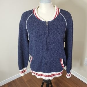 Cotton Contry/ Blue Zip-Up Sweater/ Size M
